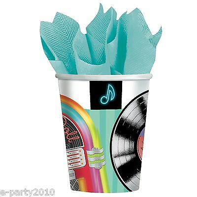I LOVE ROCK AND ROLL 9oz PAPER CUPS (8) ~ Birthday Party Supplies Drinking (Rock And Roll Party Supplies)