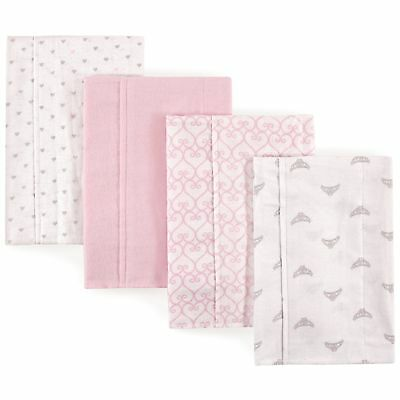 Luvable Friends Baby Layered Flannel Burp Cloth, Princess 4Pk, One Size