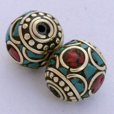Turquoise Coral Brass 2 Beads Nepalese Tibetan Handmade Tibet Nepal UB2464