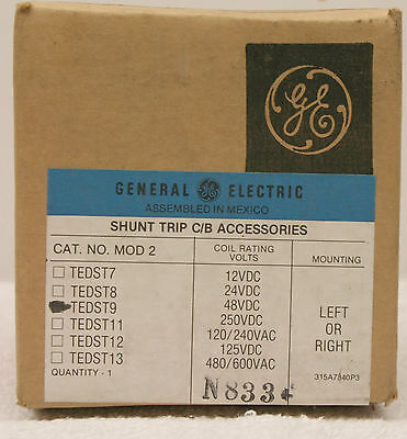 GE TEDST9 Shunt Trip C/B Accessories *SEALED*
