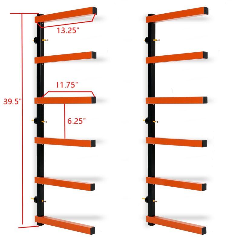 New 6-Level Wall Mount Storage Rack 660 Lb Capacity: Lumber Wood Organizer