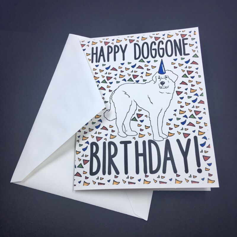 Great Pyrenees Dog Happy Birthday Card Handmade Celebration Note Card