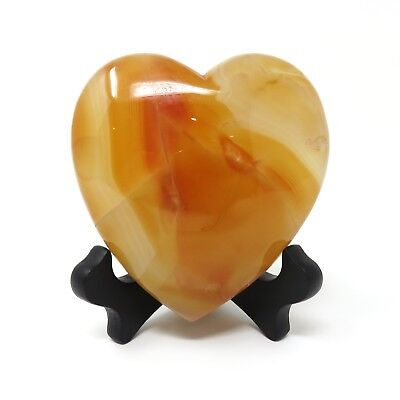 565g LARGE Red Agate Stone Heart 4.125 x 4 inches - Has Flaws - Stand Included