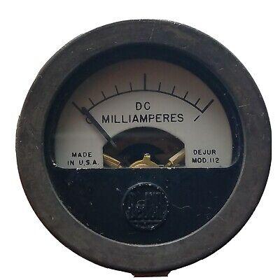 Vintage Dejur Model 112 0-1 Direct Current Dc D. C. Milliampres Panel Meter
