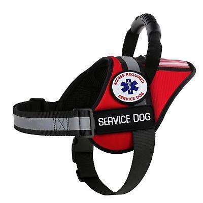 SERVICE DOG VEST NO-PULL HARNESS + REFLECTIVE + ID CARD POCKET + FREE ADA (Ada Pull)