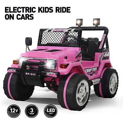 Electric 12V Kids Battery Ride On Car Toy Jeep Battery Wheel Remote Control Pink
