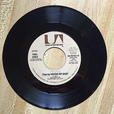 Paul Anka Youre Having My Baby Papa United Artists 1974 Vg  Mislabeled