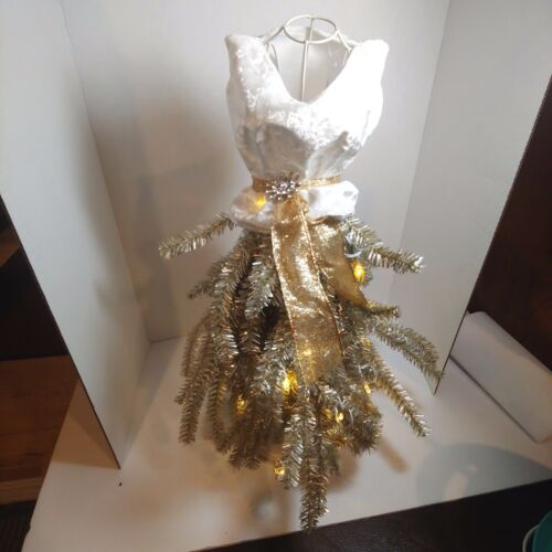 New Boutique Dress Form Mannequin Table Top Christmas Tree white  NWT lights