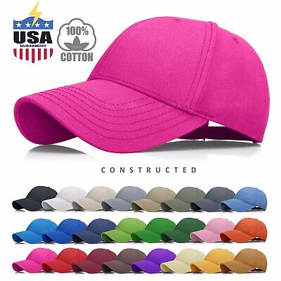 - Constructed Cotton Baseball Cap Hat Adjustable Polo Style Mens Solid Womens