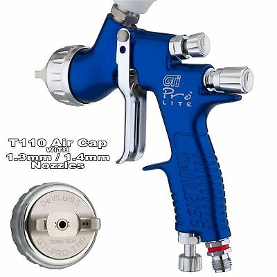 DeVilbiss GTi ProLite BLUE T110 Clearcoat/Gloss Smooth Spray Gun 1.3/1.4mm Tip