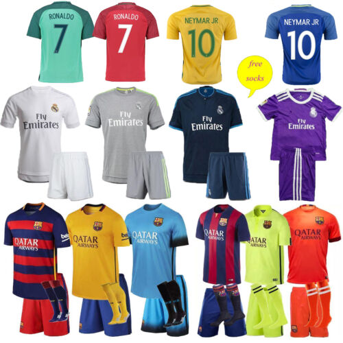 15/16/17 Football Soccer Club Kit Kids Sport Short Sleeve Jersey & Shorts &Socks