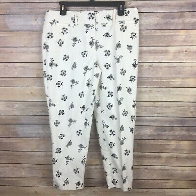 NWT Ann Taylor LOFT Women's Riviera Julie Pants Size 8 Ivory Navy Floral Cropped