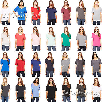 Bella + Canvas Womens Slouchy Tee scoop neck Ladies Tee S-3XL 8816