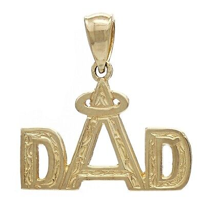 14k Yellow Gold Daddy DAD Charm Pendant Angel Halo Father