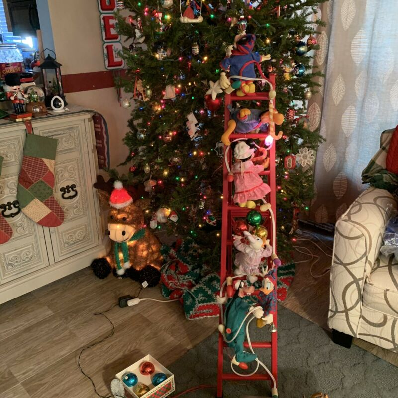 Mr Christmas 1993 Mickey & Friends Animated Tree Trimmer 4 Ft Ladder Needs Work