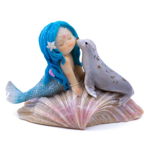 """Blue Haired Little Mermaid With Baby Seal On Clam Shell Figurine 4"""" Long New!"""