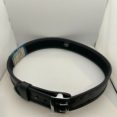 Bianchi 7960 Sam Browne Duty Belt Plain Black W Chrome Buckle 40 - 42