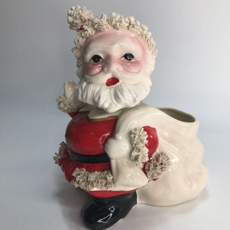 Vintage Spagetti Christmas Santa Claus Bobble Head Nodder Planter
