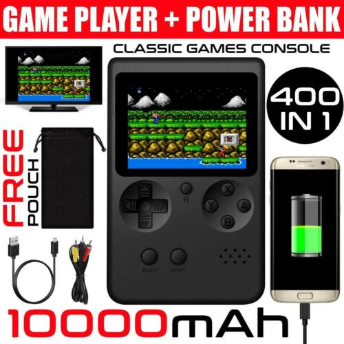 Handheld 400 Game Player Video Game Console 10000mAh Power Bank Black Home
