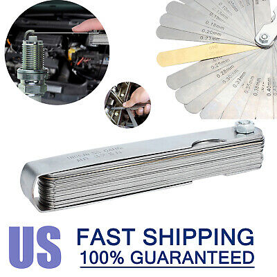 32 Blades Steel Feeler Gauge Dual Marked Metric And Imperial Gap Measuring Tool