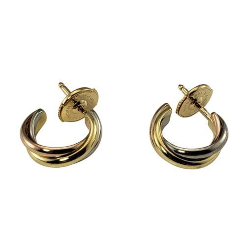 Vintage Cartier 18 Karat Yellow, White and Rose Gold Trinity Hoop Earrings #9812