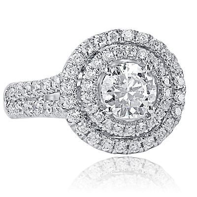 2 Carat Round Cut F-SI1 Natural Diamond Halo Engagement Ring 14k White Gold for sale  Shipping to Canada