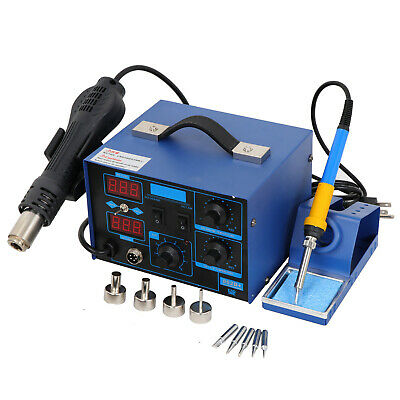 2in1 862dsmd Soldering Iron Hot Air Rework Station Led Display W4 Nozzle 700w