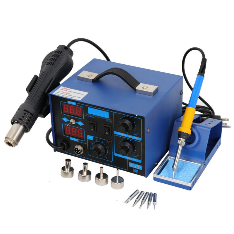 2in1 862D+SMD Soldering Iron Hot Air Rework Station LED Display W/4 Nozzle 700W