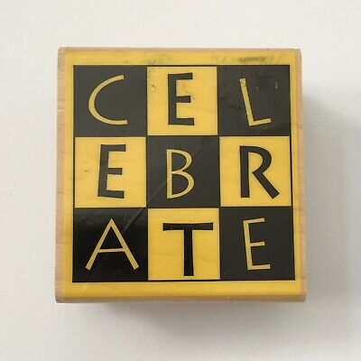 Hampton Art CELEBRATE Rubber Stamp Checkerboard Letters Party Card Making Wood  Letter Rubber Stamp