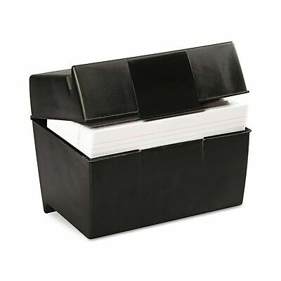 Oxford Plastic Index Card Box 5 X 8 Inches 500 Card Capacity Black 01581