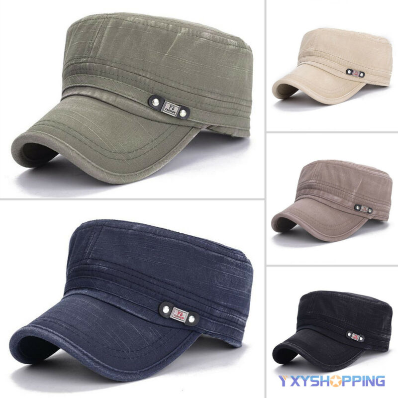 Men Women Military Plain Cadet Flat Hat Combat  Army Style Casual Golf Headwear Clothing, Shoes & Accessories