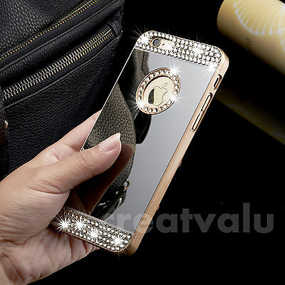 Mirror Bling Crystal Diamond Sparkle Hard back Case For Apple iPhone & Samsung