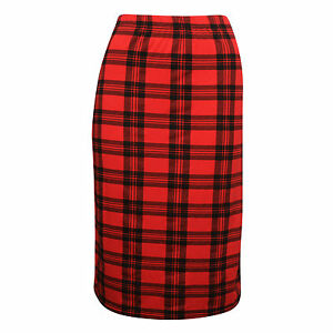 New-Womens-Ladies-Check-Tartan-Elasticated-Waist-Pencil-Midi-Skirt-Bodycon-SM-ML