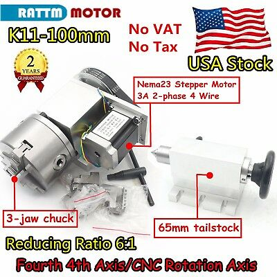 Usrotation A-axis Cnc Router Rotary Table 4th Axis 100mm 3 Jaw Chucktailstock