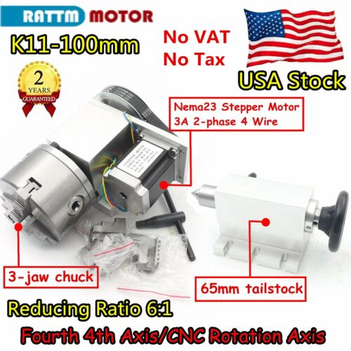 〖US〗Rotation A Axis CNC Router Rotary Table 4th Axis 100mm 3 jaw chuck&Tailstock