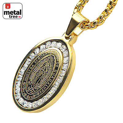 - Stainless Steel Guadalupe Virgin Mary Pendant 3 mm Box Chain Necklace SCP 152 G