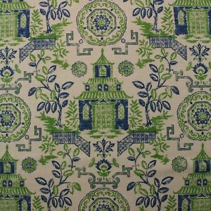 BALLARD DESIGNS PAGODA GREEN BLUE ASIAN CHINOISERIE LINEN  FABRIC BY YARD 54