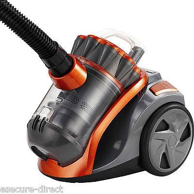 VonHaus 1200W 2L Orange Grey Bagless Compact Cylinder Vac Hose Vacuum Cleaner
