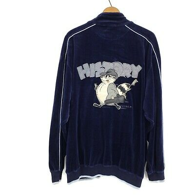 Iceberg History Velour Jacket Mens XL Bandit Raccoon Blue Track Zip Front