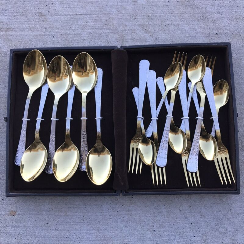 NEW! VINTAGE SILVER WARE SET WITH CASE GOLD SILVER ANTIQUE SILVERWARE FORK SPOON