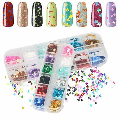 Nail Glitter Sequins Holographic Laser Butterfly Flakes Nail Art 3D Decoration Health & Beauty