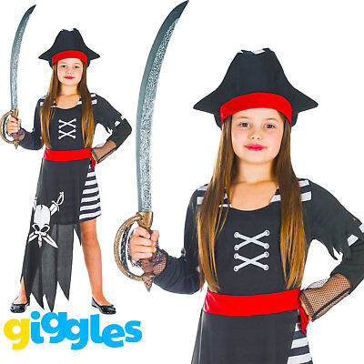 Girls Pirate Captain Kids Child World Book Day Week Fancy Dress Costume - Childrens Pirate Fancy Dress Costumes