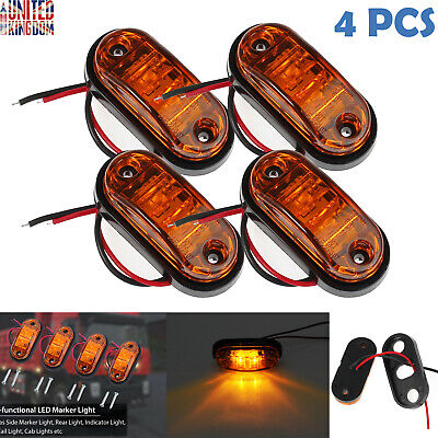 4 Front Side Marker LED Indicator Light Car Truck Van Trailers Amber Lamp 12/24V