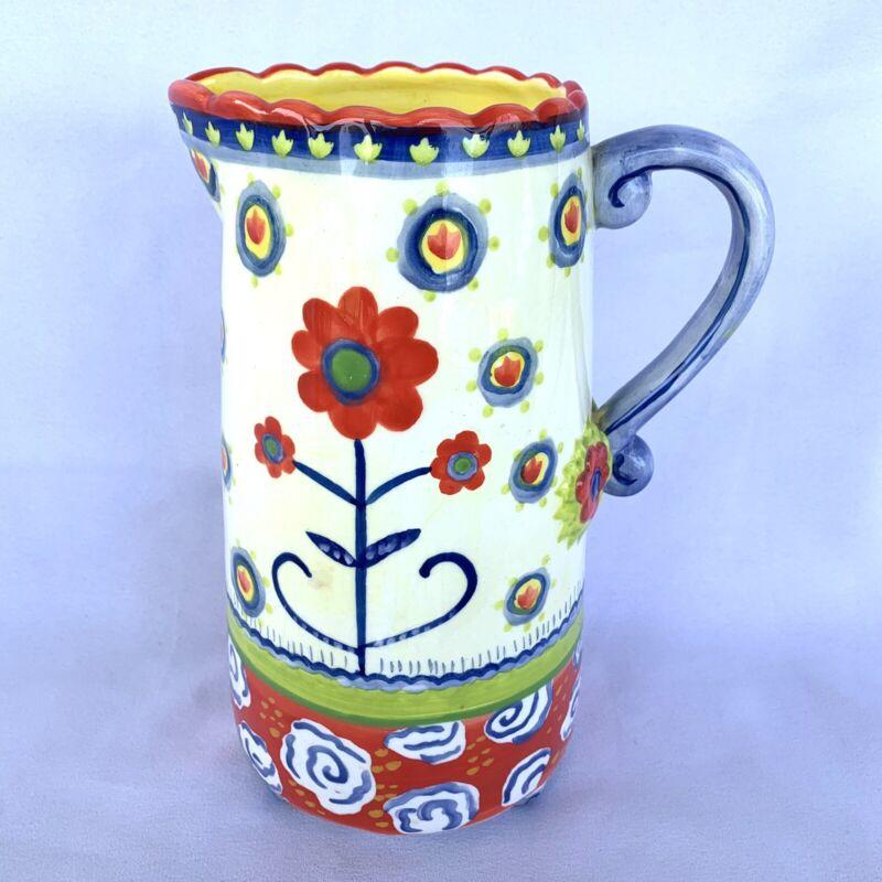 "Kimberly Hodges Cupcakes & Cartwheels Large Colorful Ceramic Pitcher 9"""