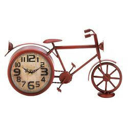 NEW Home and Garden Desk Clock Red Vintage Metal Bicycle old-fashioned worn look