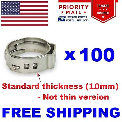 100 1 Pex Stainless Steel Clamps Cinch Pinch Rings Astm Nsf Certified Ssc-2