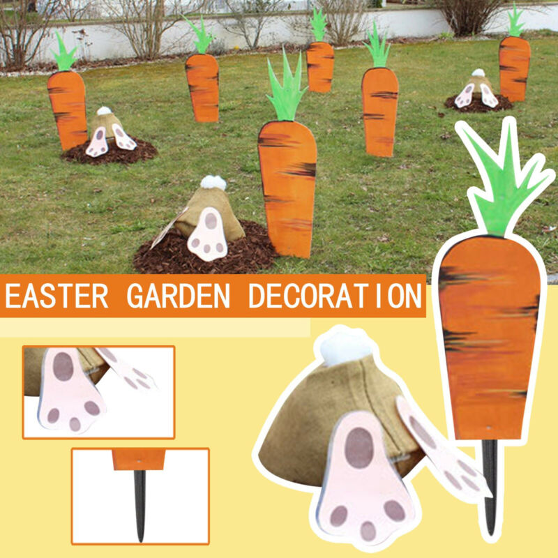Digging Rabbit and Carrots Yard Garden Outdoor Ornament Easter Cute Holiday Gift