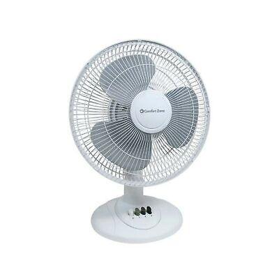 "Comfort Zone Quiet 3-Speed 12"" Oscillating Table Fans 180° Adjustable Tilt White"