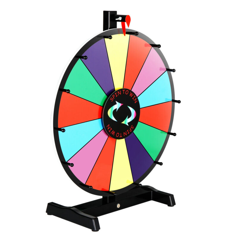 """18"""" Prize Wheel Editable Stand Fortune Spinning Game Tabletop Color Dry Erase"""