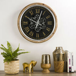 Glitzhome Vintage Industral Metal Wall Clock Mechanical Moving Gears Home Decor